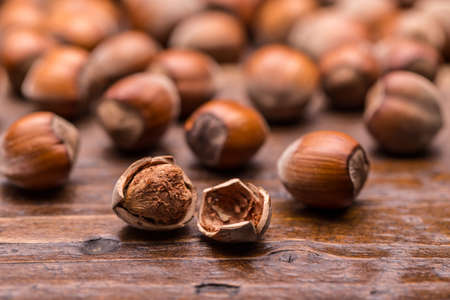 filbert: Hazelnuts, filbert on old wooden background