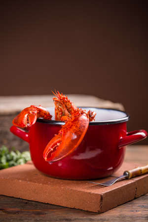 lobster pots: A red pot of boiled lobster