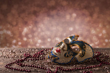 carnival in venice: Carnival mask with glittering background Stock Photo