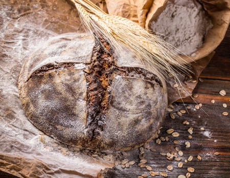 crusty: Close up of crusty rye bread