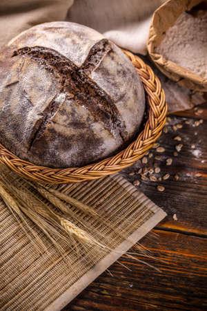 basket: Freshly baked artisan bread in wicker basket