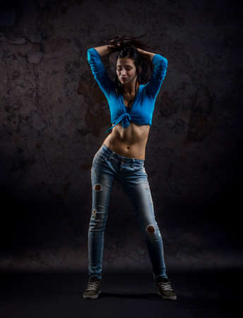 zumba: Studio shoot of active female dancer moving