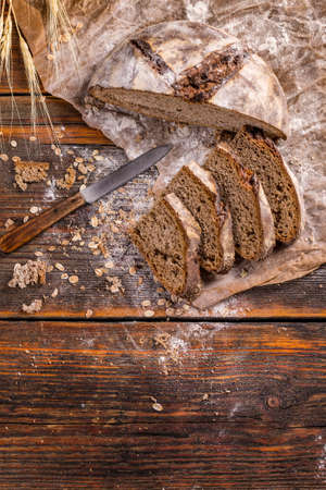 wholegrain: Wholegrain rye bread with space for your text Stock Photo