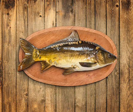 fish plate: Common carp fish in wooden plate Stock Photo