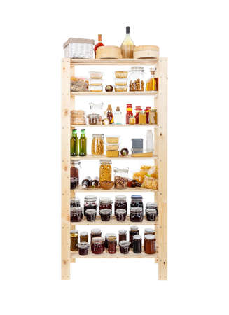 canned goods: Shelves of homemade preserves and canned goods Stock Photo