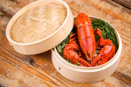 lobster pot: A delicious freshly boiled lobster in the pot Stock Photo