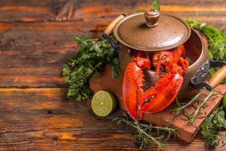 lobster pot: Boiled lobster in copper pot on wooden table background