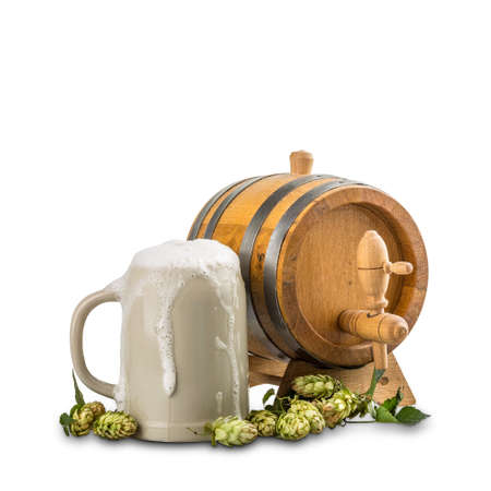 unbottled: Beer barrel with beer mug and hops on white background