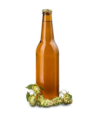 dew cap: Bottle of beer with hops on white background