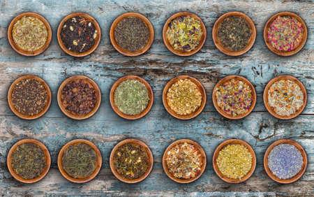 decrepit: Tea leaves collection on decrepit blue wood background