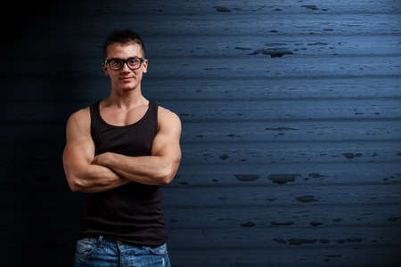 Young handsome man wearing fashion eyeglasses photo