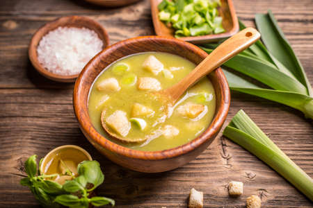 leeks: Homemade creamy leek soup in a bowl