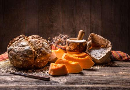 home baked: Still life of fresh home baked pumpkin bread Stock Photo
