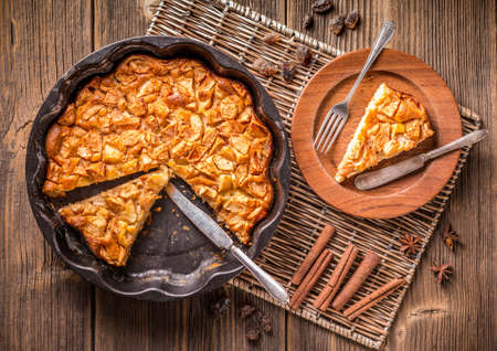 dessert plate: Top view of homemade apple pie, sliced Stock Photo