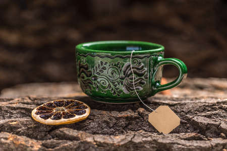 teabag: Green tea cup and teabag