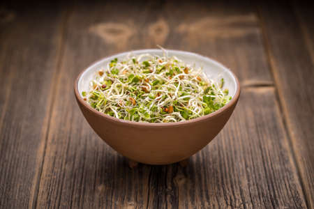 sprouted: Mix of sprouted seeds in bowl on a wooden background