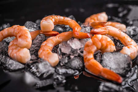 Seafood concepts: shrimps on ice