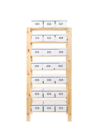 carboard box: Cardboard boxes on shelves isolated on white background