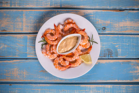 prepared shrimp: Top view of boiled shrimps with sauce