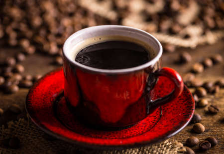 frijoles rojos: Close up of coffee cup Foto de archivo