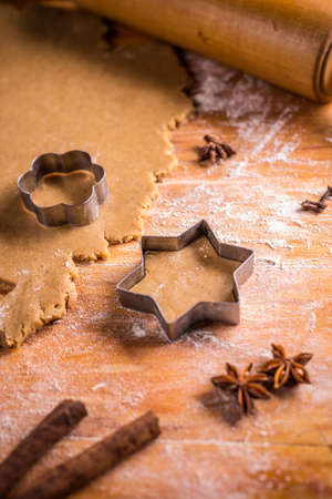 christmas baking: Christmas baking concept: dough, cutters and spices