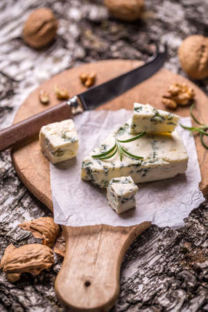 gorgonzola: French gorgonzola soft cheese on wooden cutting board Stock Photo