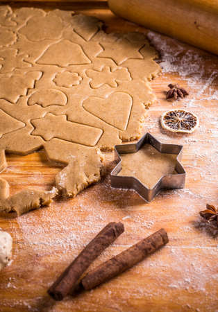 cookie cutter: Gingerbread dough with star cookie cutter Stock Photo