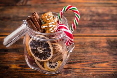 christmas food: Jar of various Christmas goods Stock Photo
