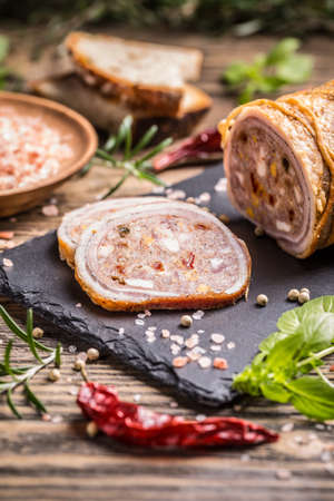 roulade: Stuffed pork roulade with minced meat and eggs Stock Photo