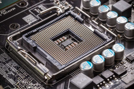 computer transistors: Electronic circuit board with processor socket Stock Photo