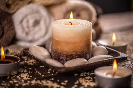 aromatherapy: Burning candles for aromatherapy session Stock Photo