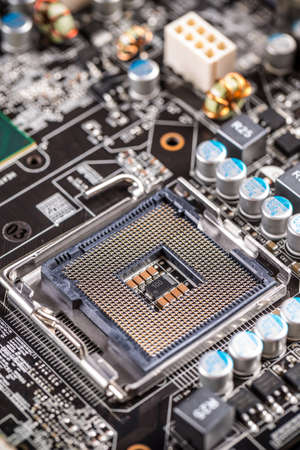 Electronic circuit board with processor socket Stock Photo