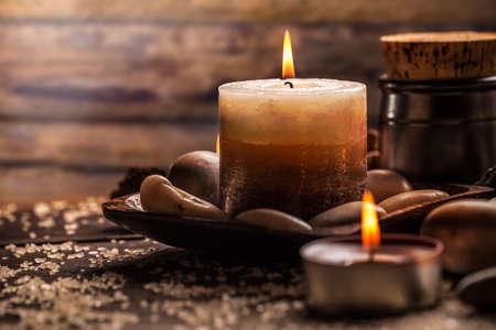 스파와 웰빙 촛불 설정