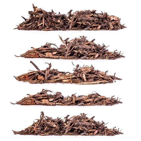 Heap of bark mulch on white background, set Stock Photo