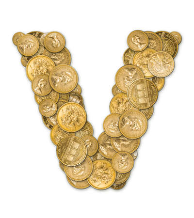 v shape: Letter V made from gold coins money isolated on white background Stock Photo