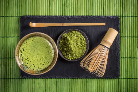 Matcha tea and green tea utensils Stock Photo