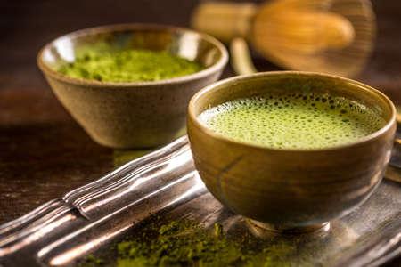 maccha: Organic green matcha tea in a bowl
