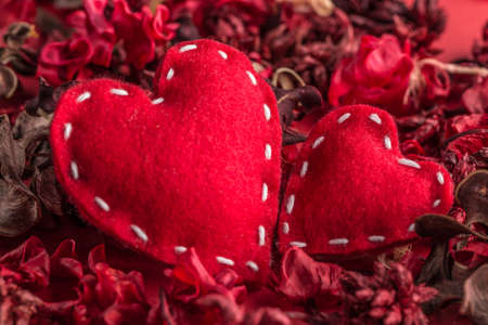 stitched: Valentines hearts, stitched red felt hearts