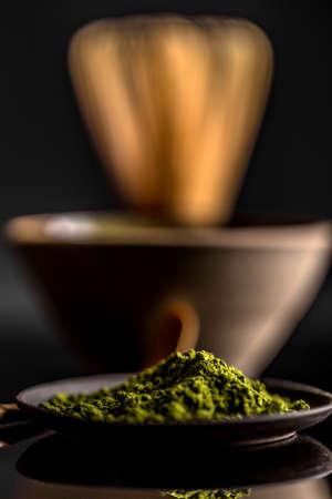 maccha: Close up of green matcha tea powder