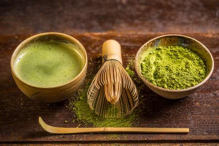 Matcha ince toz yeşil çay Stok Fotoğraf