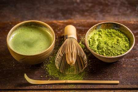 Matcha té verde en polvo fino