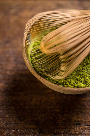 maccha: Powder green tea with whisk, matcha Stock Photo