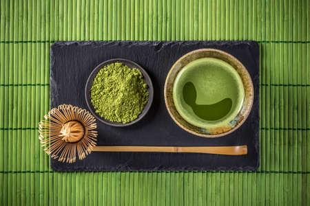 impostazione cerimonia del tè giapponese, tè verde Matcha Archivio Fotografico