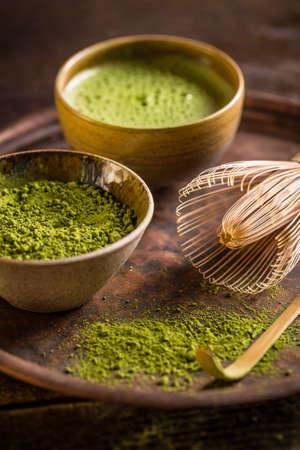 maccha: Japanese tea ceremony setting, matcha tea and green tea utensils