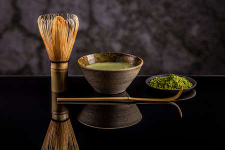 Japanese tea ceremony setting, Matcha green tea
