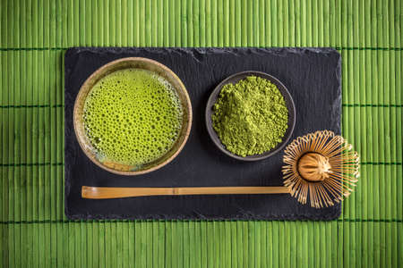 Japanese traditional tea set with matcha green tea