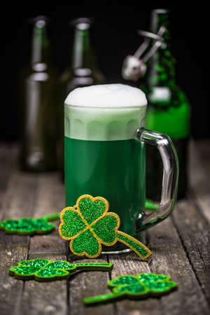 green beer: St Patricks Day green beer with shamrock