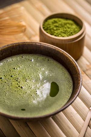 maccha: Close up of organic green matcha tea in a bowl