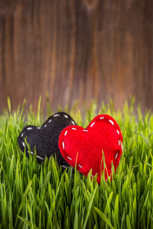 hand crafted: Hand crafted red and black felt hearts