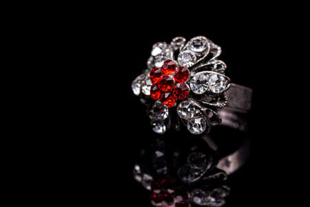 silver jewelry: Silver jewelry with red stones inside